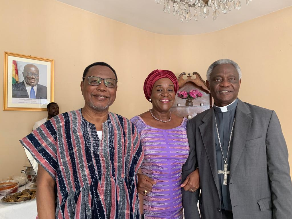 H.E. Ambassador with His Eminence Cardinal Appiah Turkson and H.E. Joseph K Akudibilah, Ambassador of Ghana to the Holy See